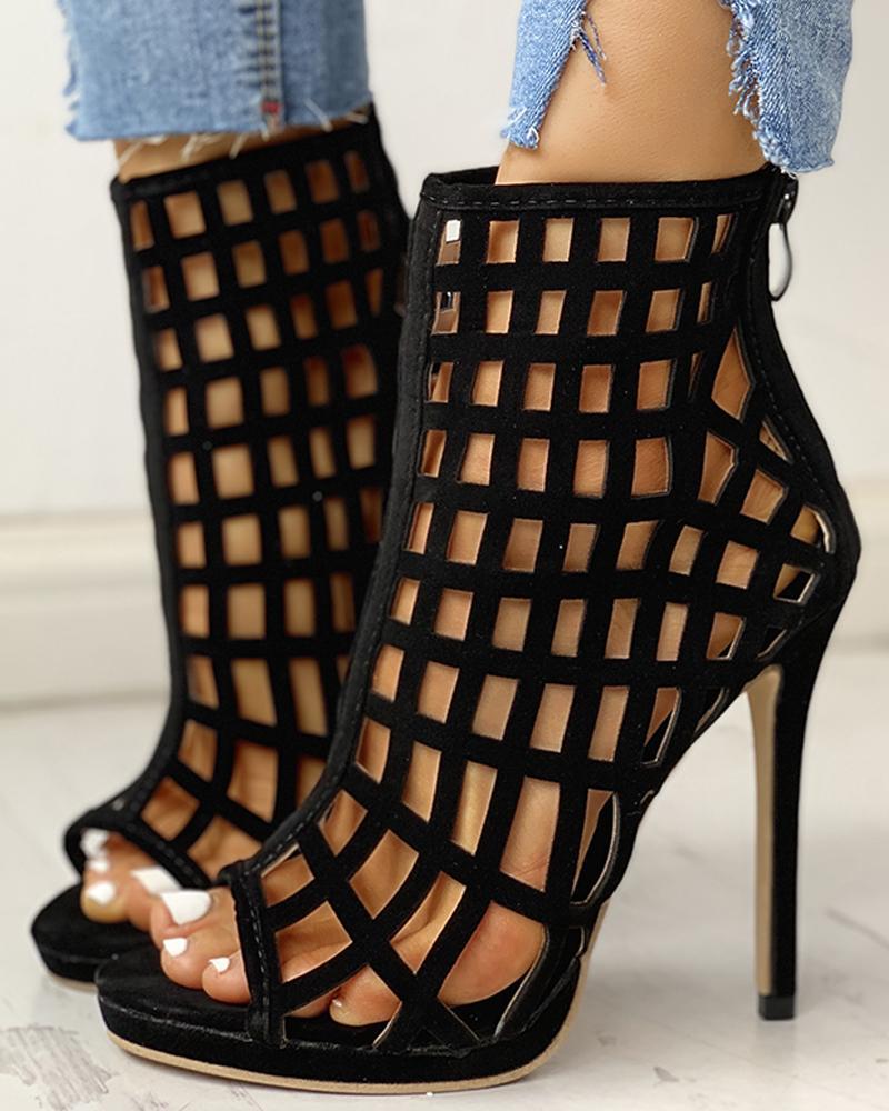 Hollow Out Peep Toe Thin Heels, Black