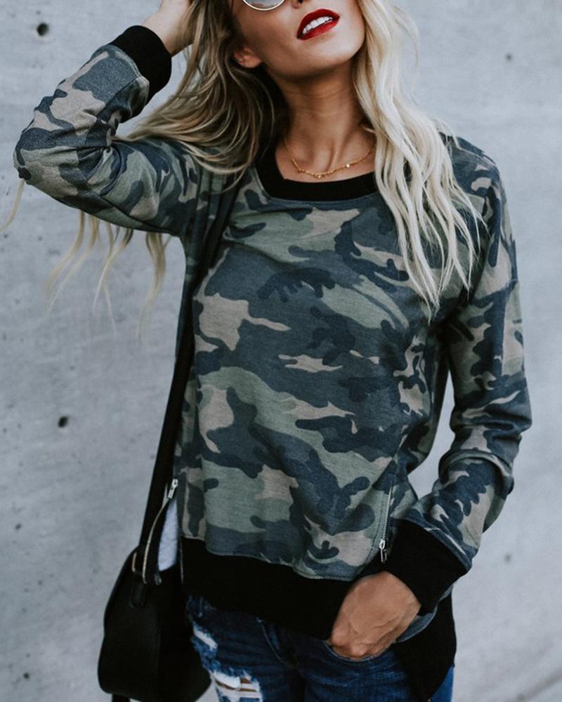 Camouflage Print Zipper Split Casual Sweatshirt