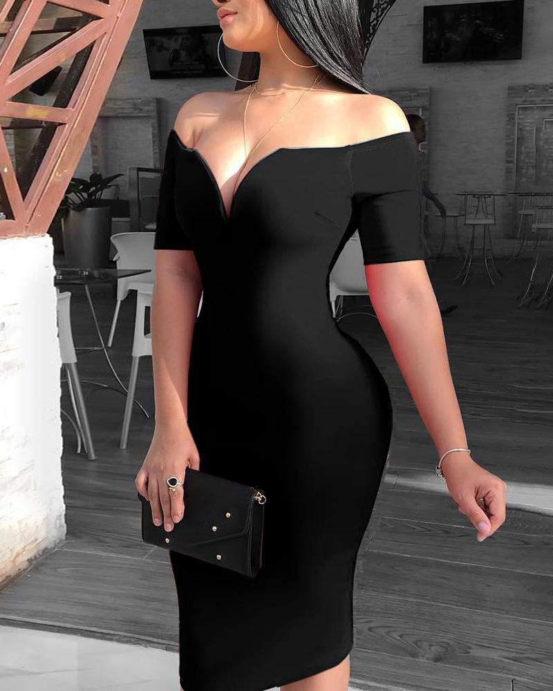 chicme / Solid Off Shoulder Short Sleeve Midi Dress