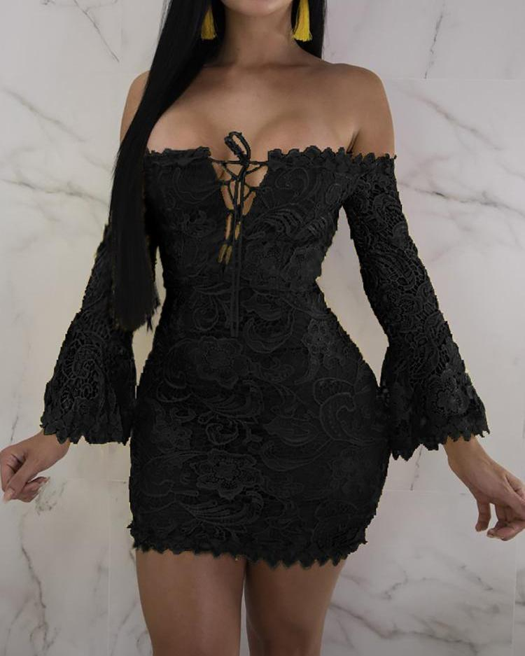 Off Shoulder Flare Sleeve Lace-up Bodycon Dress