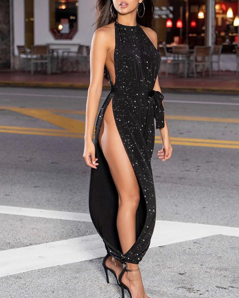 Glitter Sleeveless Ruched Slit Leg Jumpsuit фото