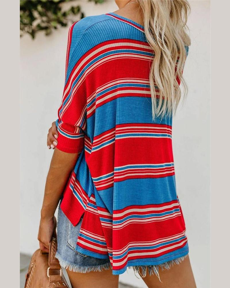 Striped Knitted T-Shirt, Red