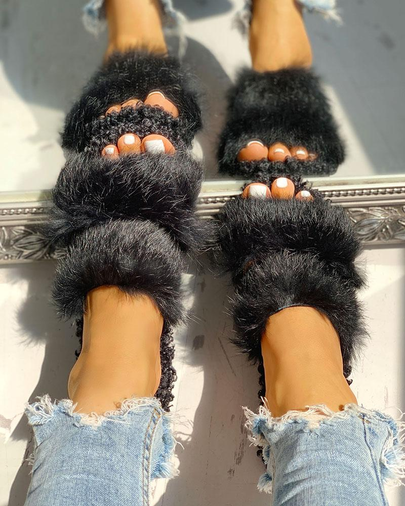 Fluffy Hollow Out Casual Flat Sandals фото