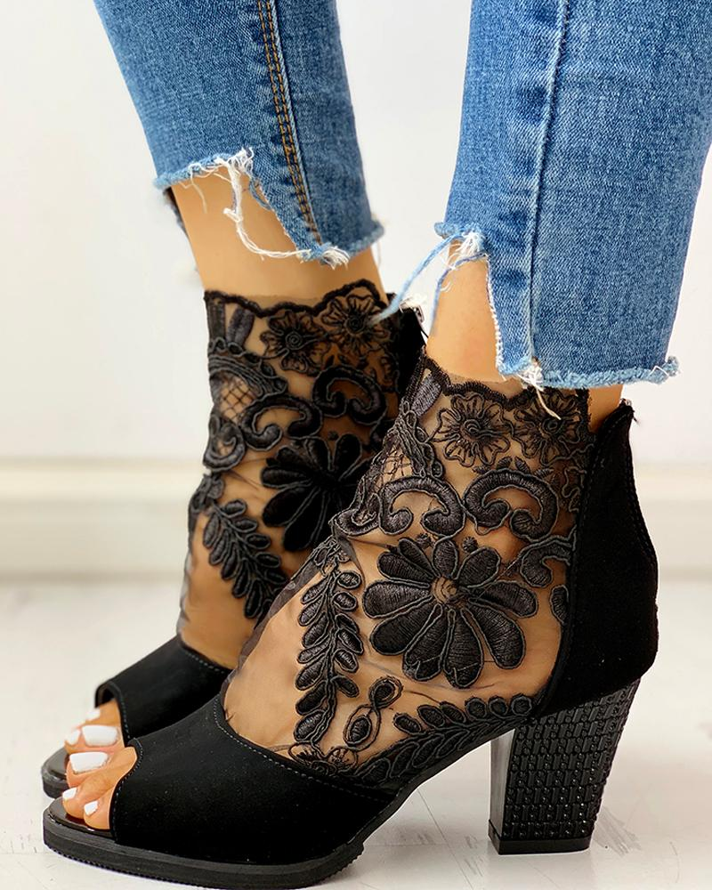 Lace Mesh Insert Chunky Heeled Boots фото