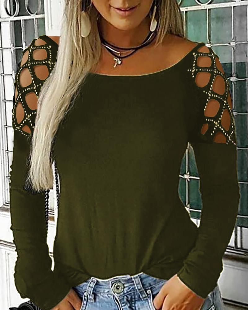 Studded Hollow Out Long Sleeve Top, Green