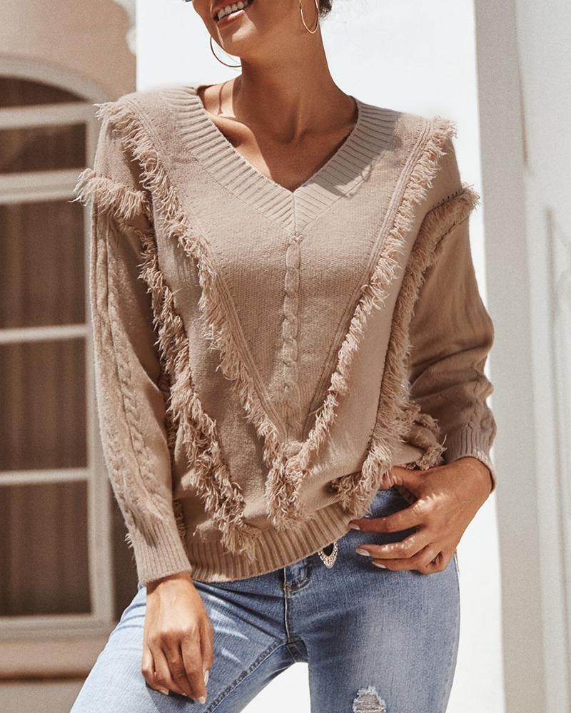 Knitted Tassel Design Casual Sweater фото