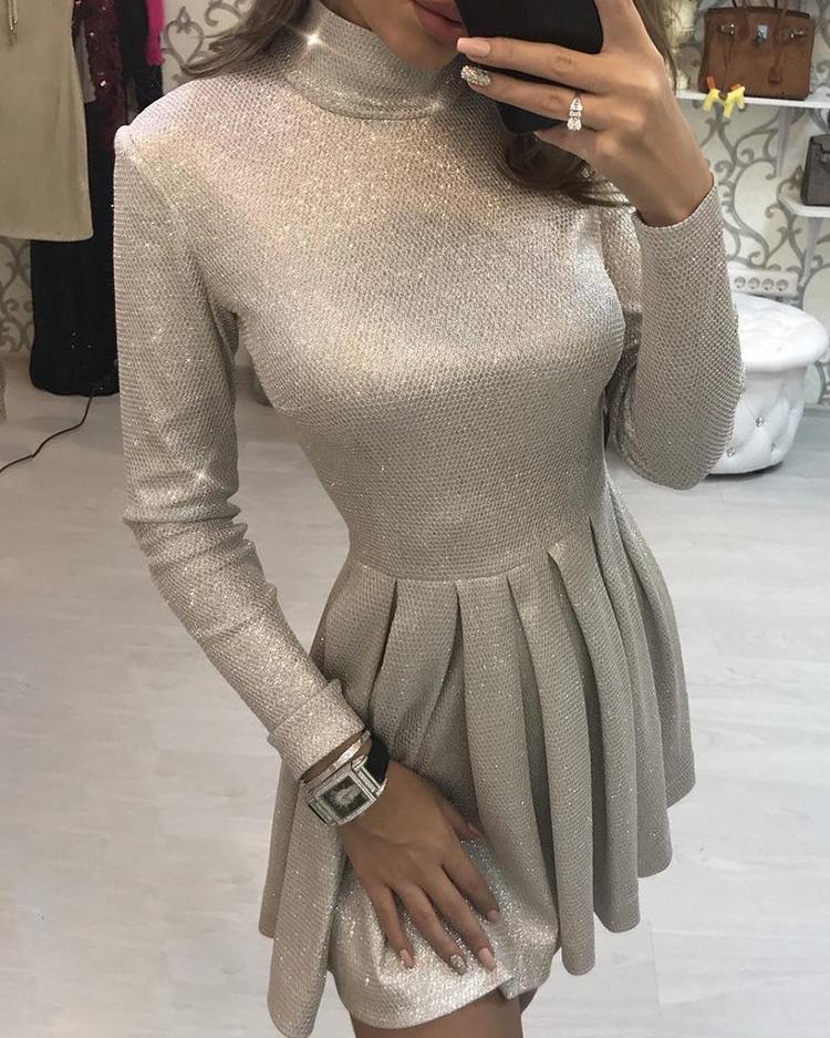 Shiny Long Sleeve Pleated Mini Dress фото