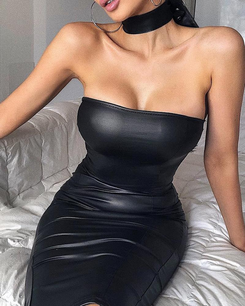 ivrose / Tubo vestido de couro falso Bodycon