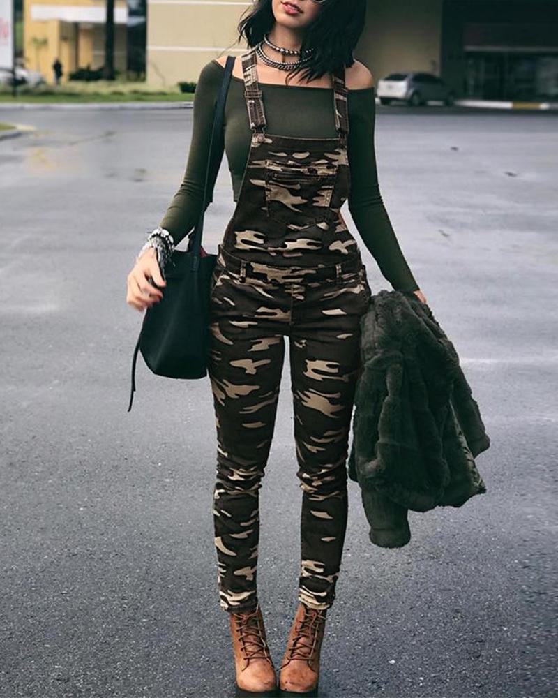Stylish Camouflage Pocket Front Overalls