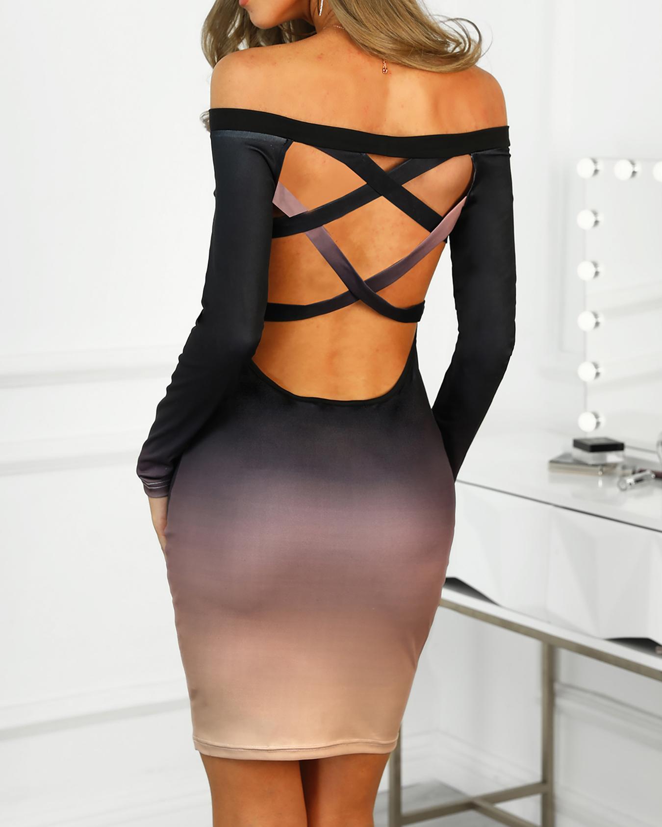 Gradient Color Lace Up Back Bodycon Dress