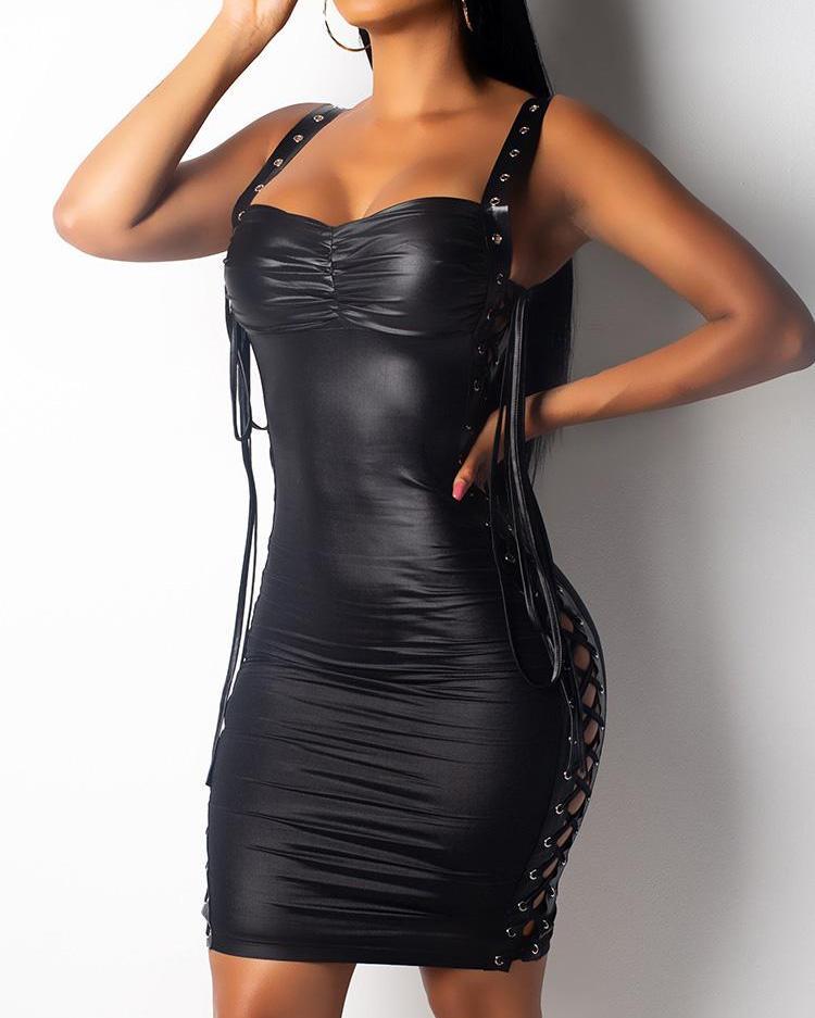 Eyelet Lace-Up Thin Strap PU Party Dress фото