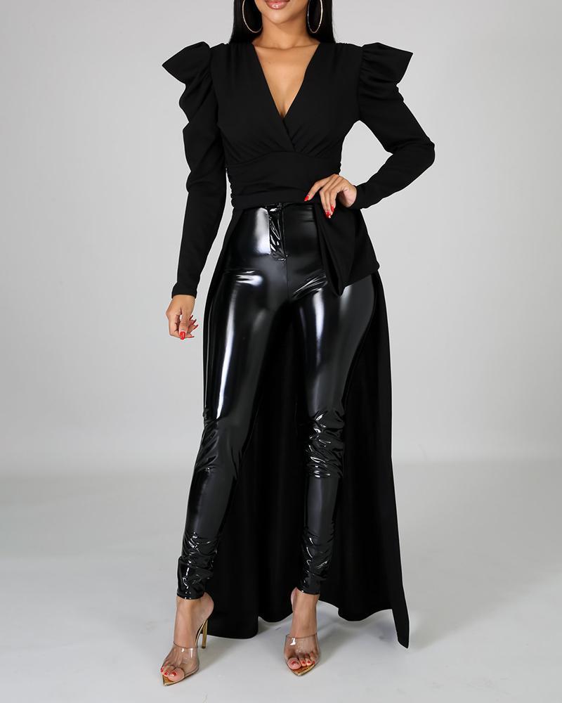 boutiquefeel / Blusa con dobladillo de cintura apretada y manga hinchada