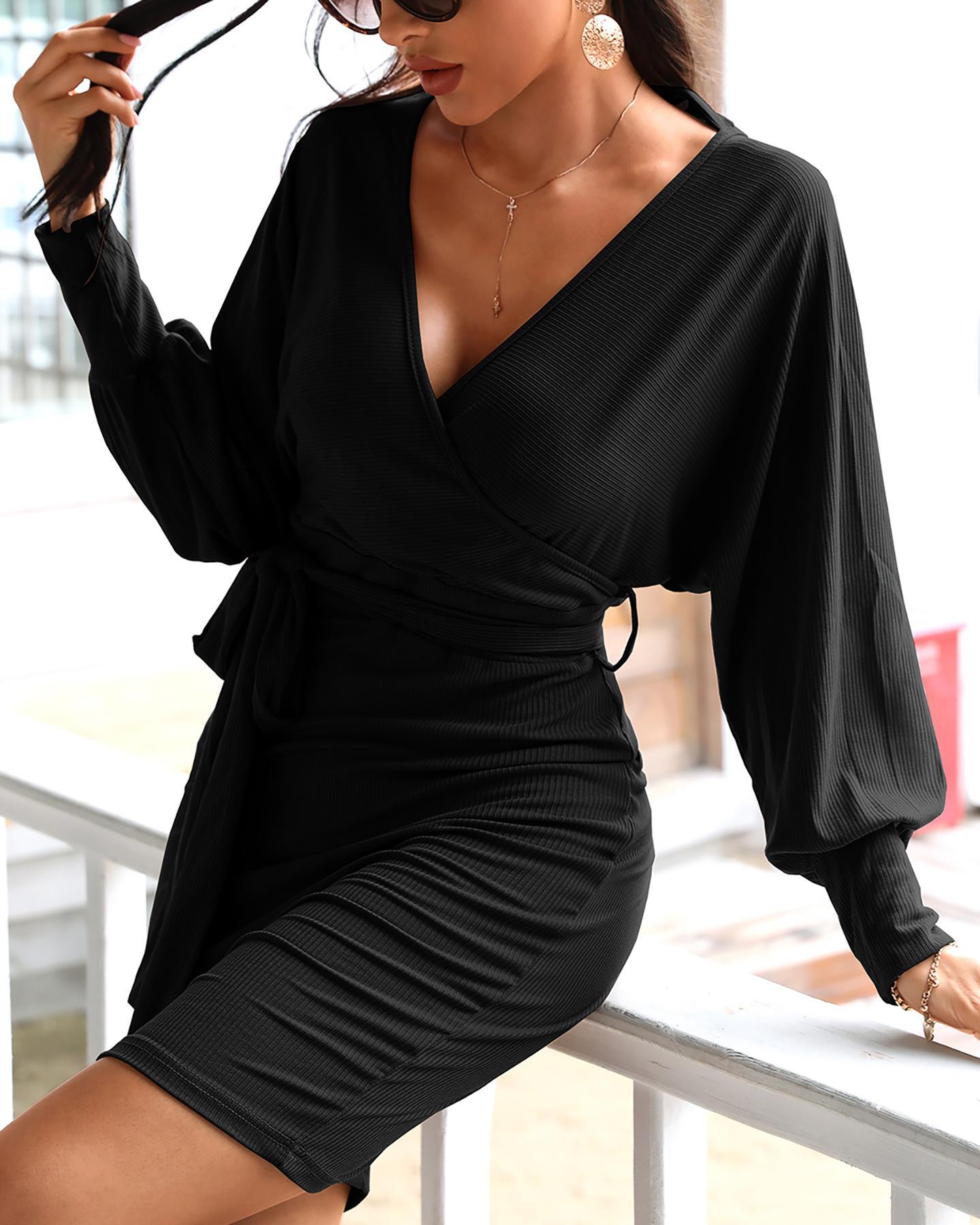 Surplice Wrap Batwing Sleeve Ribbed Dress фото