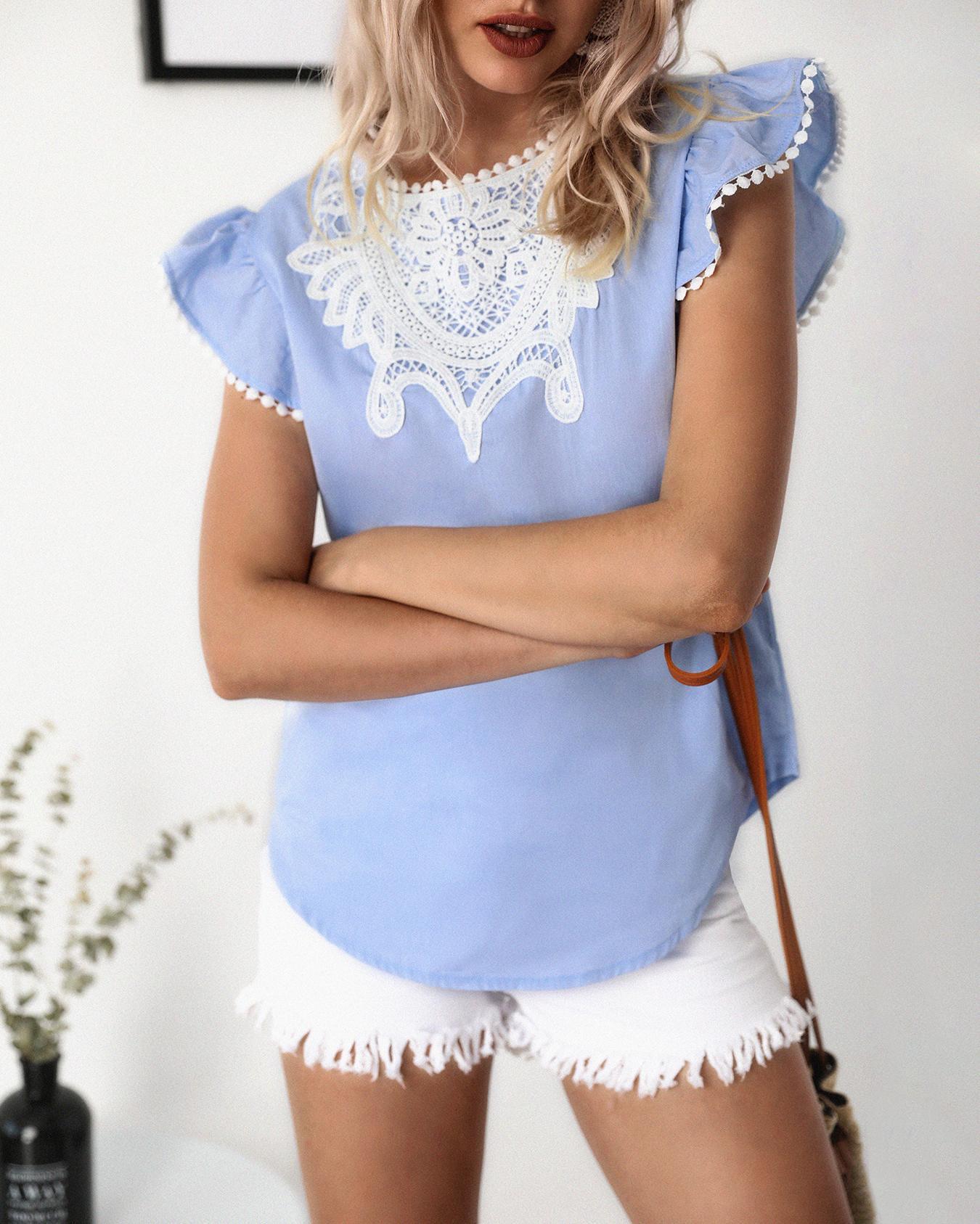 ivrose / Crochet Lace Splicing Flutter Sleeve Casual Blouse