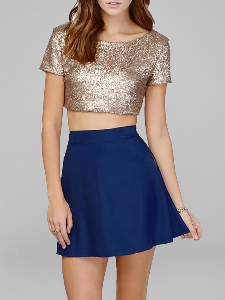 ivrose / Women Trendy Sequin Embellished Low Cut Back Crop T-shirt