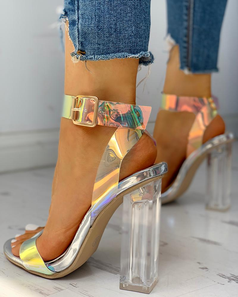 Ankle Buckled Transparent Chunky Heeled Sandals фото