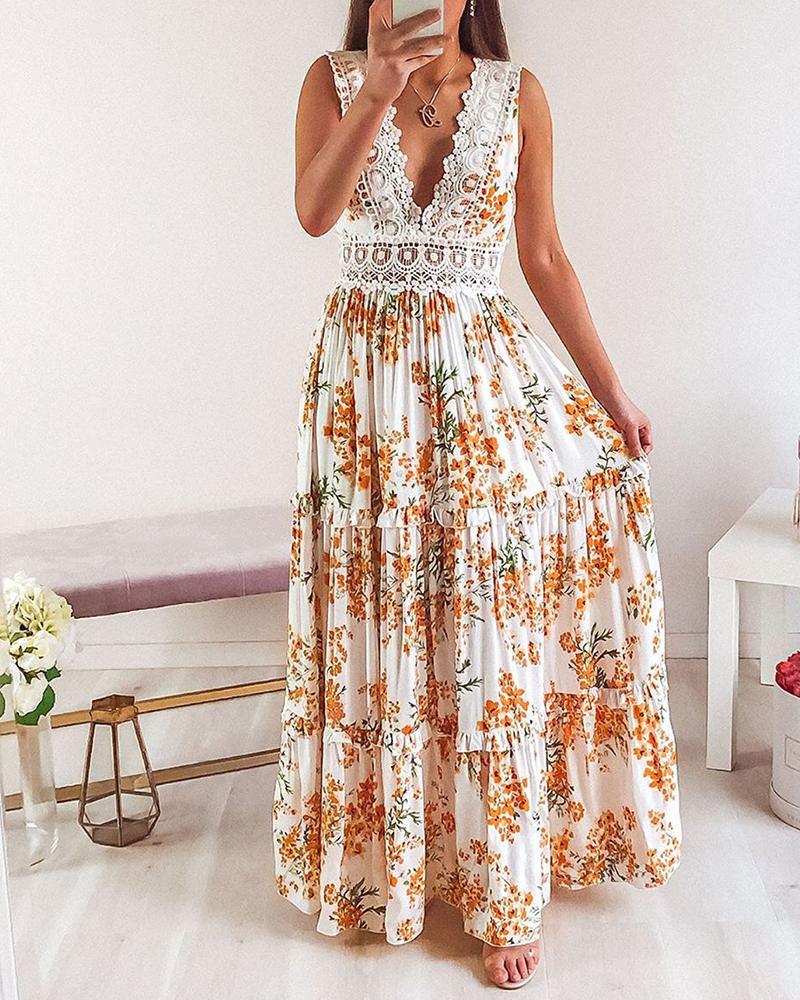 Deep Plunge Lace Trim Maxi Dress фото