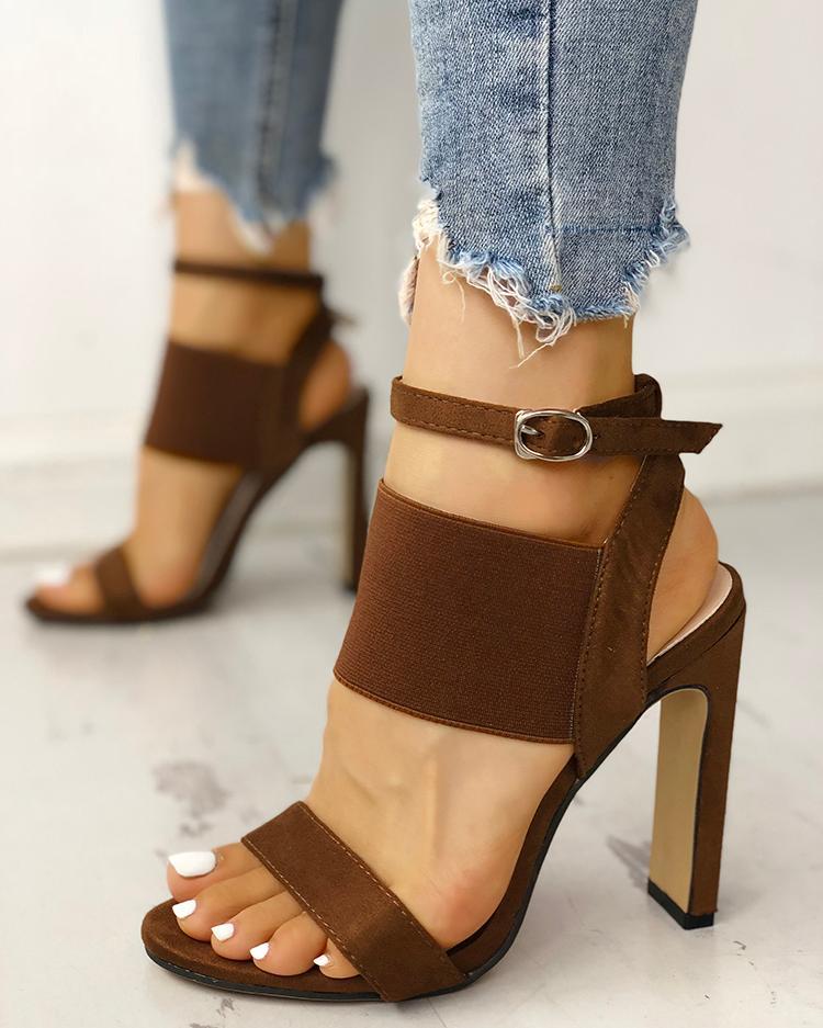 ivrose / Open Toe Elastic Strap Heeled Sandals