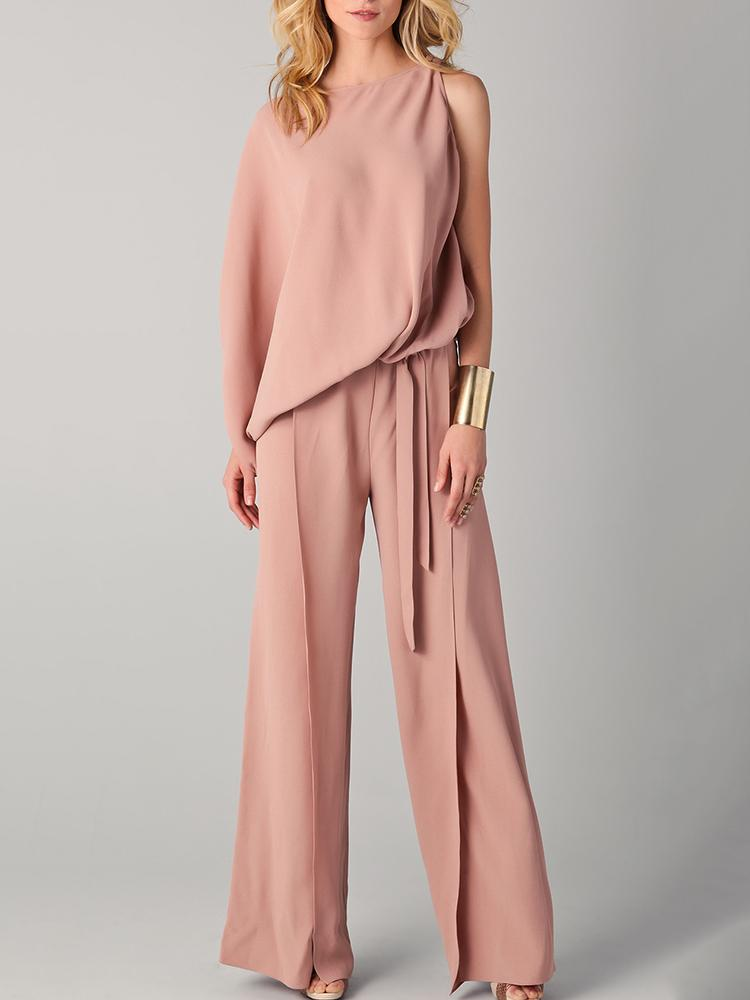 Asymmetric One Sleeve Belted Wide Leg Jumpsuit