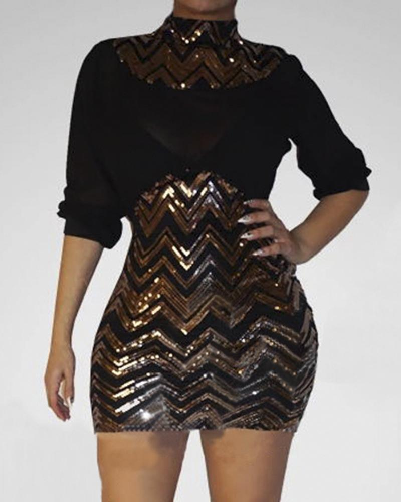 Striped Sequins Long Sleeve Bodycon Dress фото