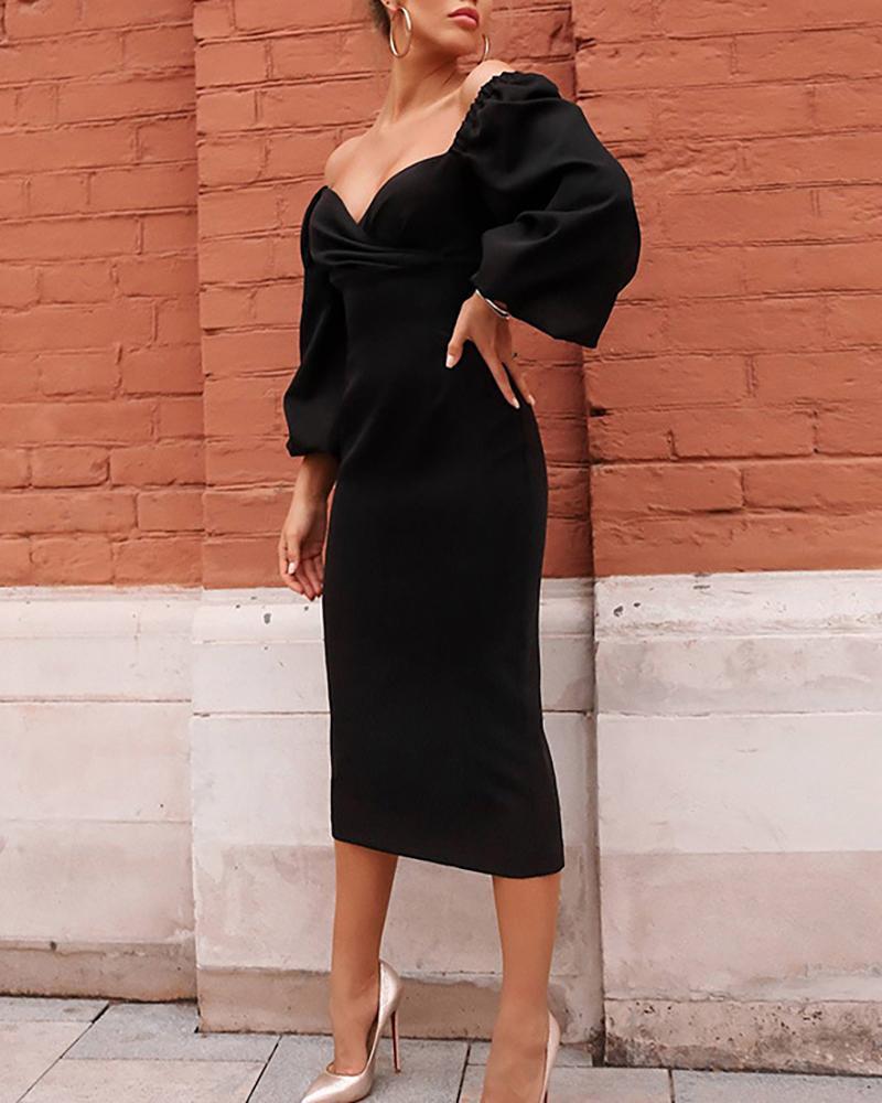boutiquefeel / Vestido acanalado sin mangas con manga linterna sólida