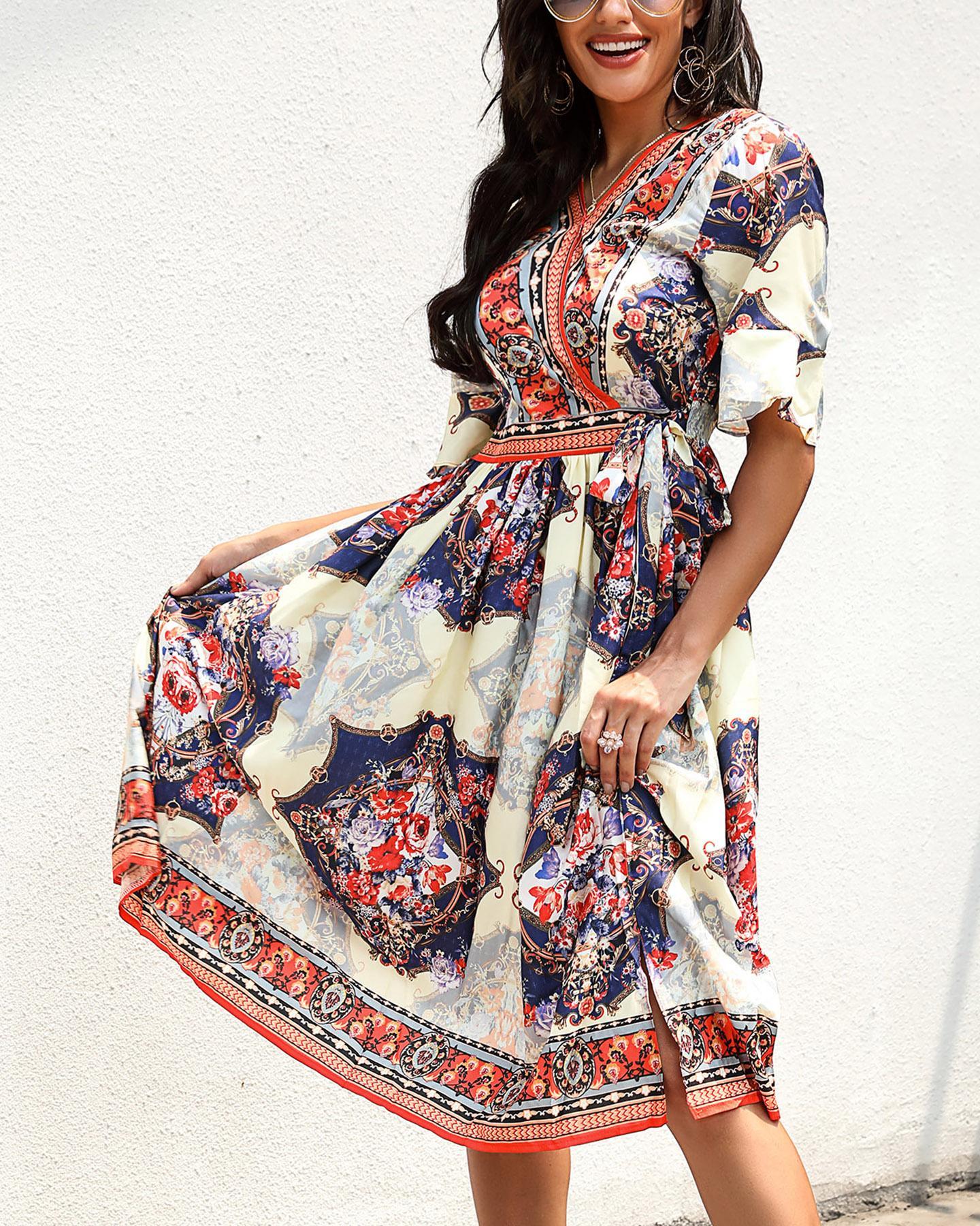 V-neck Short Sleeve Print Dress фото