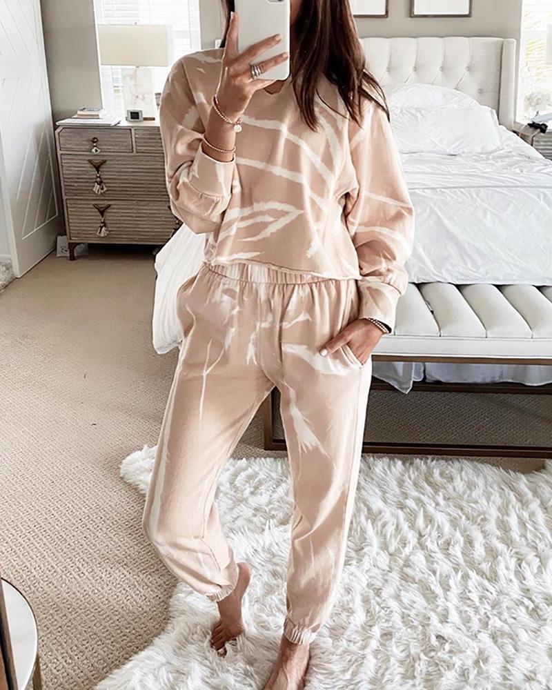 boutiquefeel / Tie Dye Print Top de cintura elástica e conjunto de calças