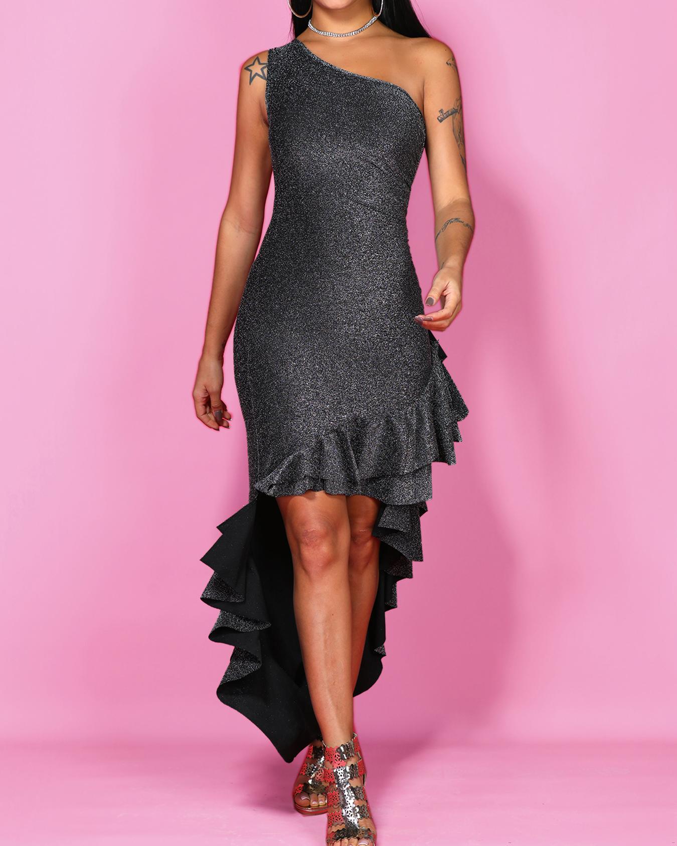 Glitterring Asymmetric Shoulder Ruffles Hem Maxi Dress фото