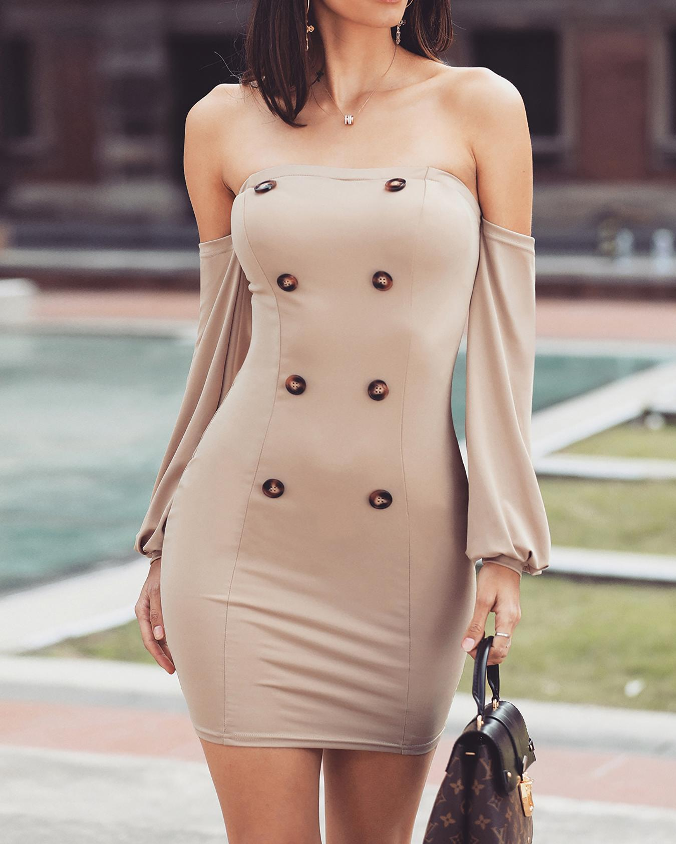 Off Shoulder Double Breasted Bodycon Dress