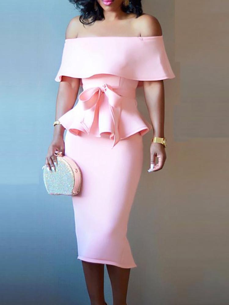 Off Shoulder Peplum Top & Skirt Set