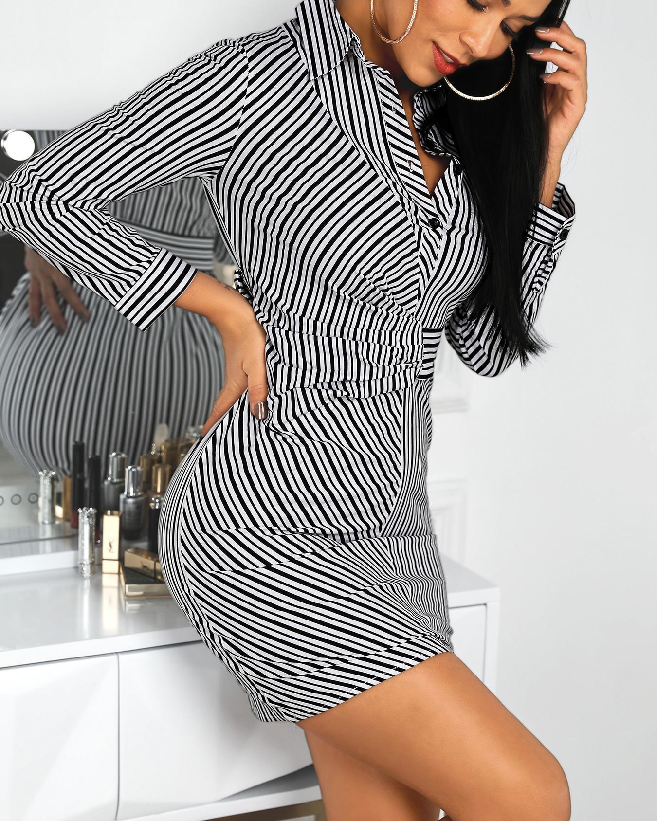 chicme / Riscas ruched cintura camisa vestido