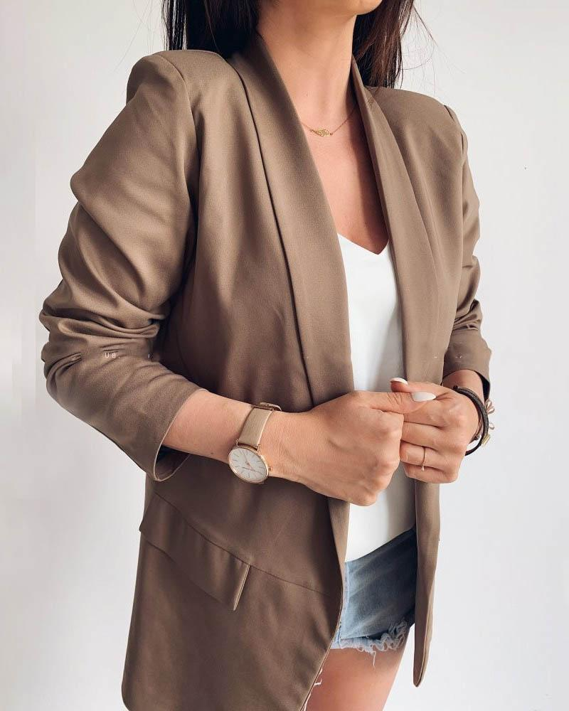 Solid Notched Neck Pocket Detail Blazer фото