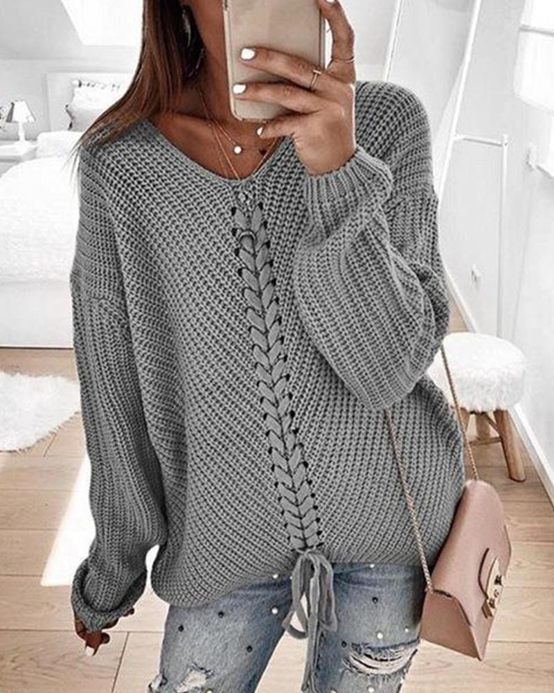 V Neck Rib Knit Sweater фото