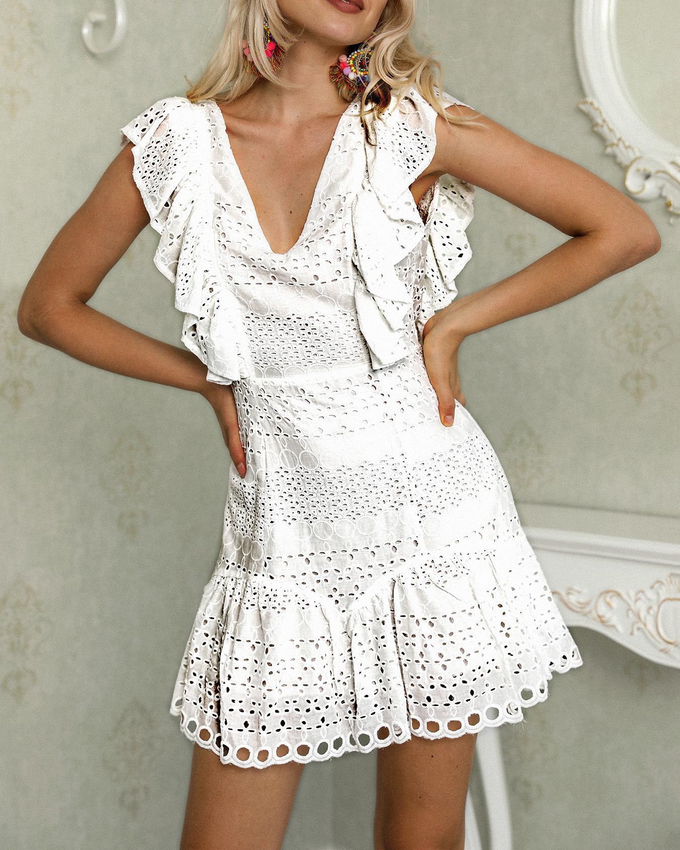 boutiquefeel / Oco Out Trim Ruffles Mini Vestido Sólido