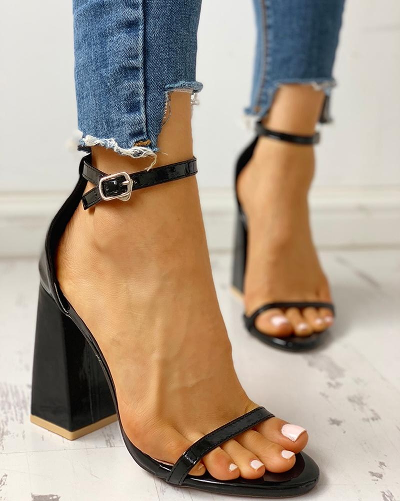 Ankle Strap Buckled Chunky Heeled Sandals