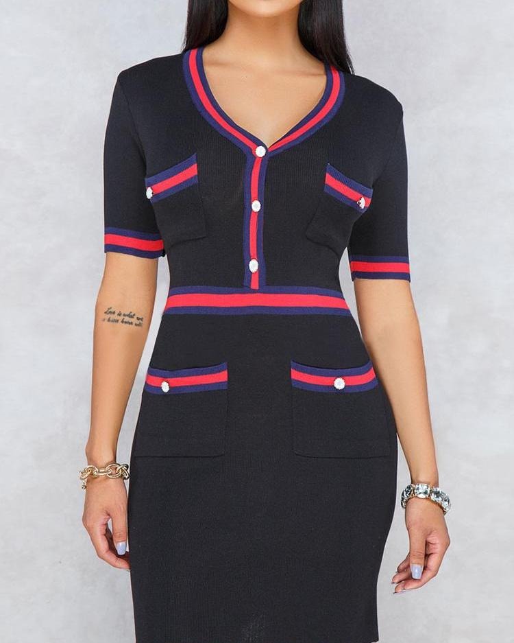 Contrast Binding Striped Tape Mini Dress, ivrose, black  - buy with discount