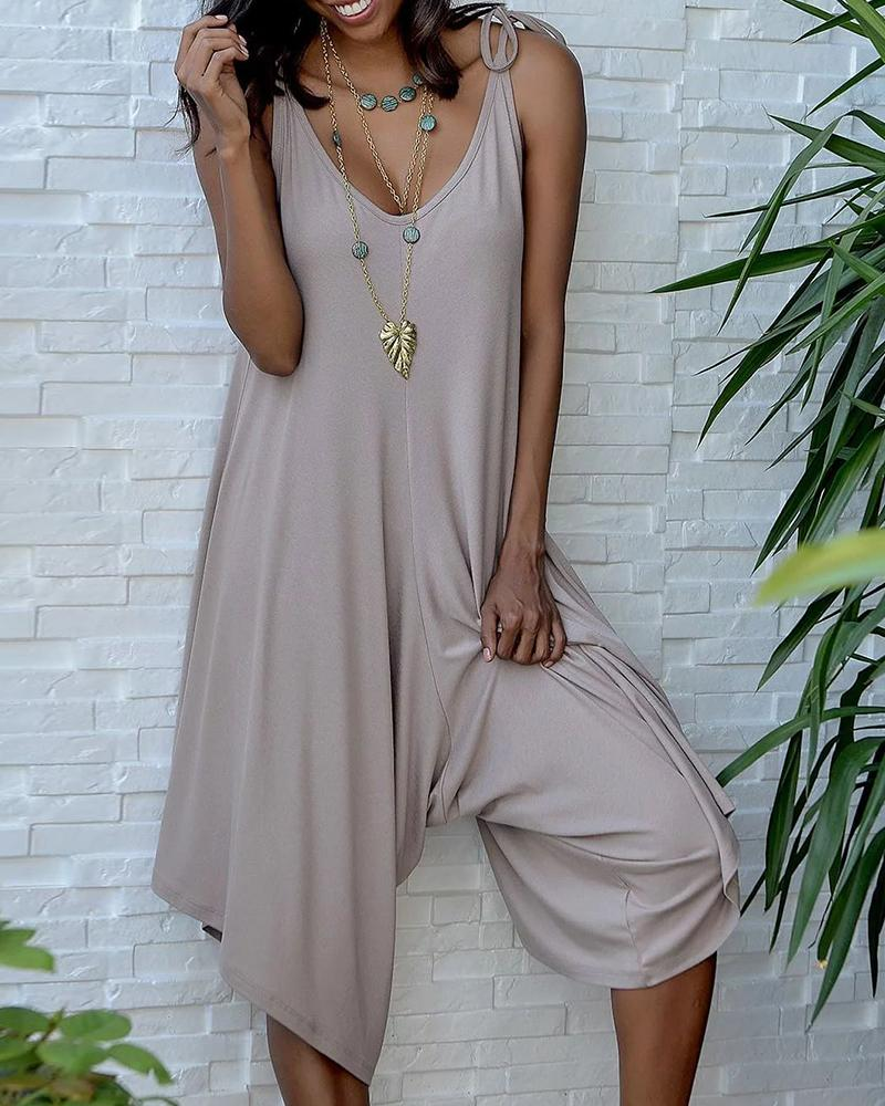 Solid Sleeveless Casual Wide Leg Romper фото