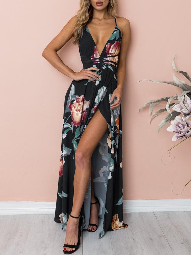 High Slit Crisscross Open Back Floral Maxi Dress