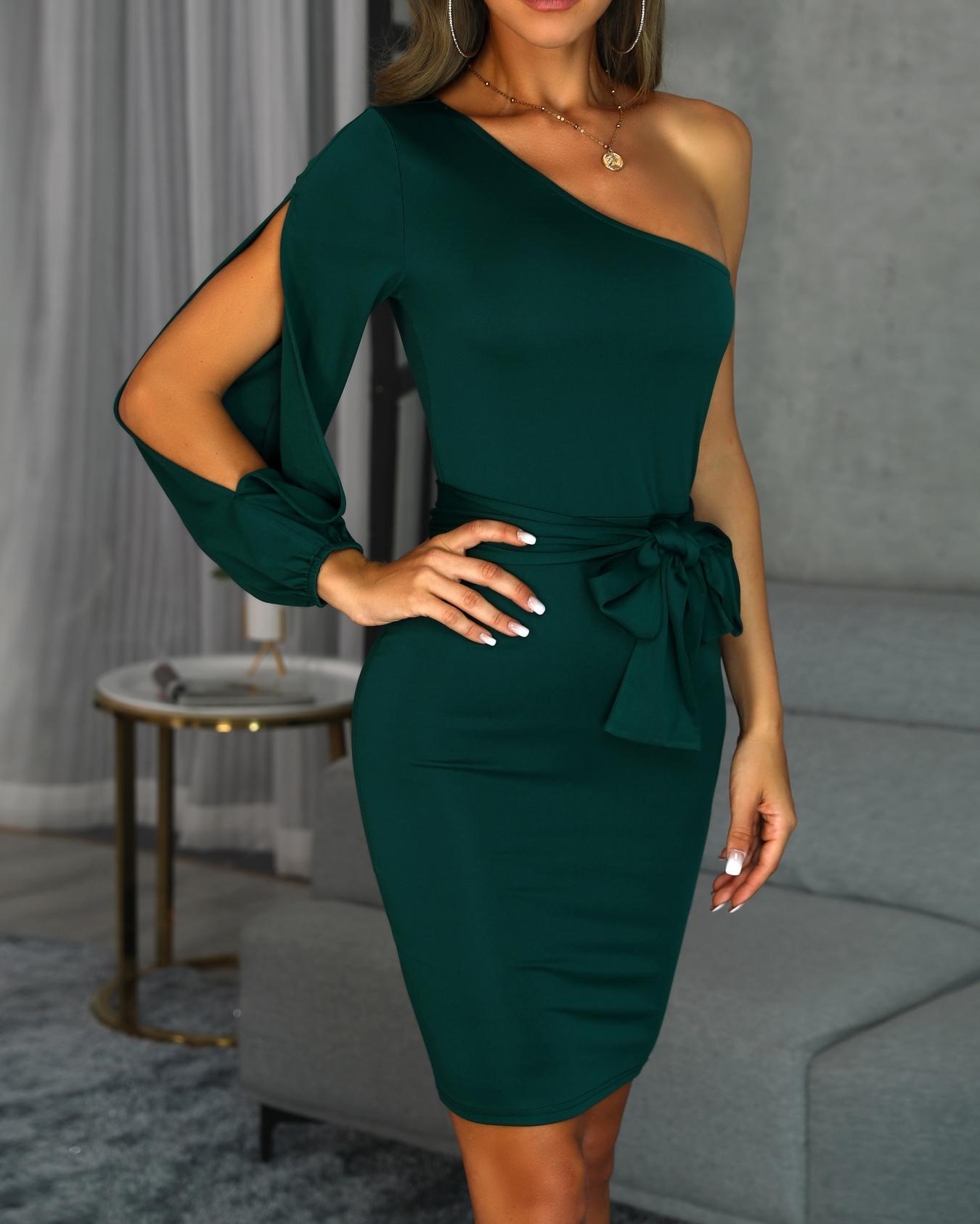One Shoulder Slit Sleeve Bodycon Dress