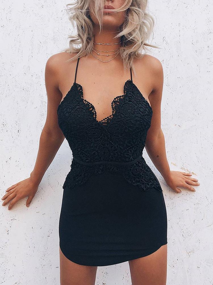 Guipure Lace Splicing V Neck Bodycon Dress