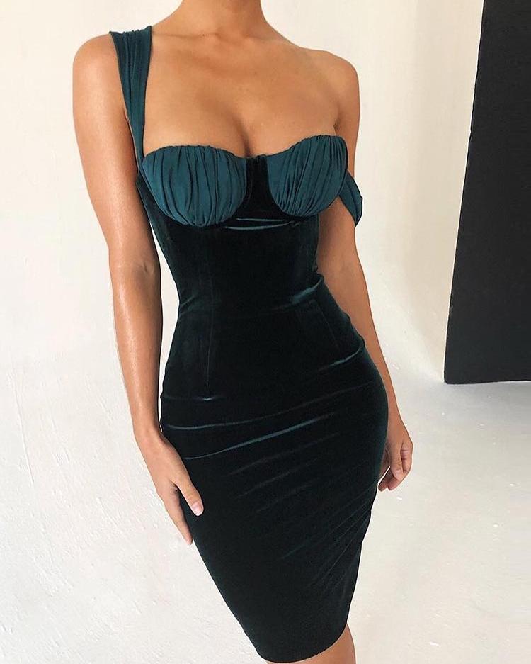ivrose / Underwire Insert Crisscross Velvet Dress