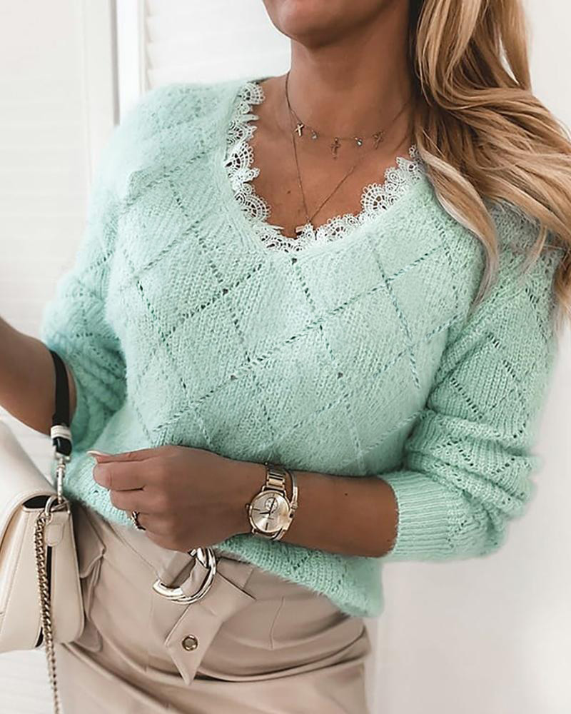 chicme / Lace Trim Fluffy Long Sleeve Sweater