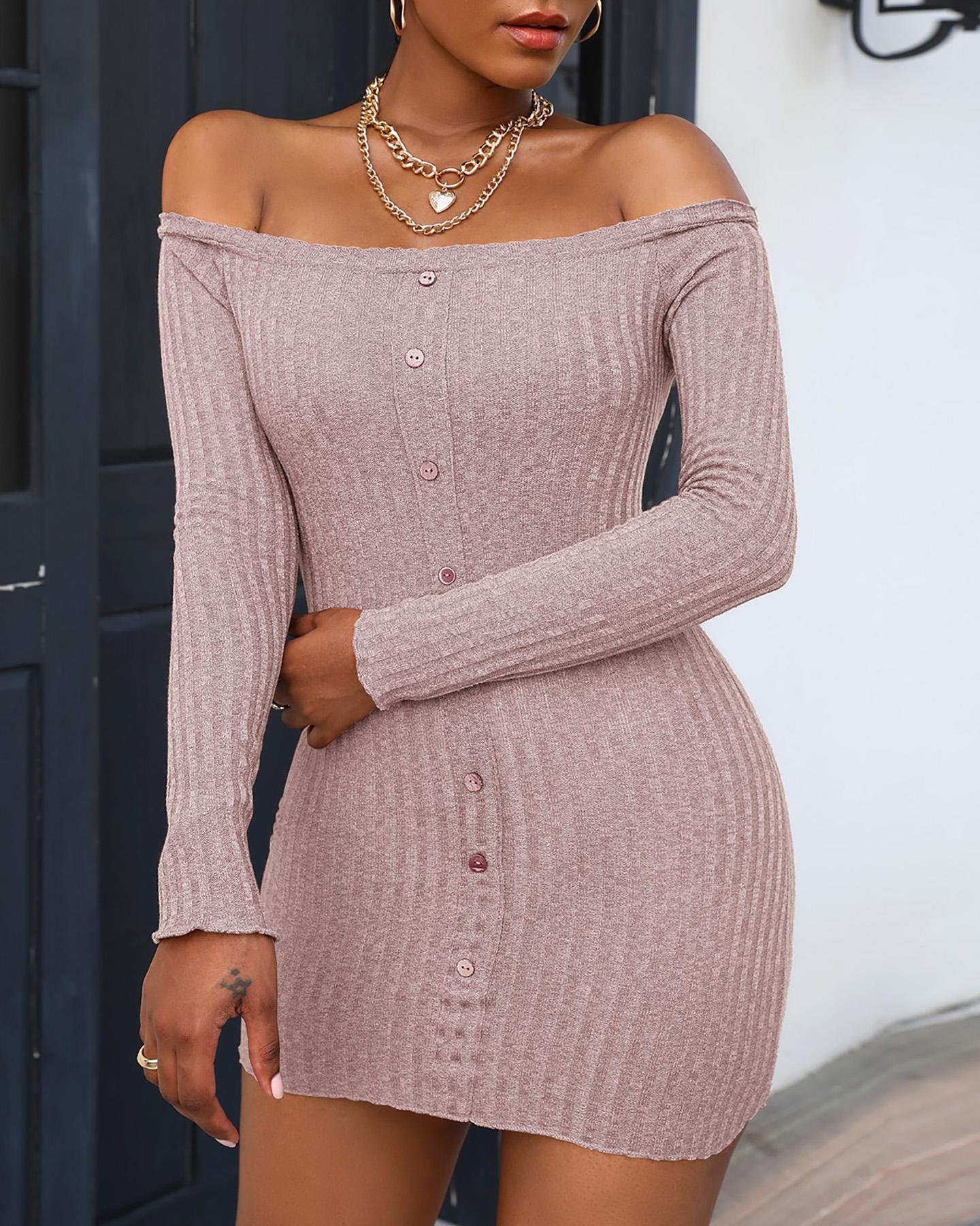chicme / Button Design Off Shoulder Knit Bodycon Dress