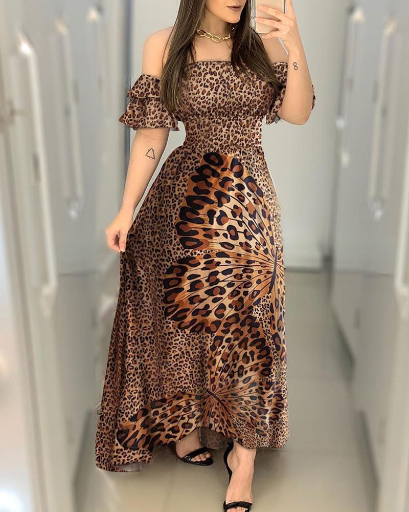 joyshoetique / Off Shoulder Cheetah Butterfly Print Maxi Dress