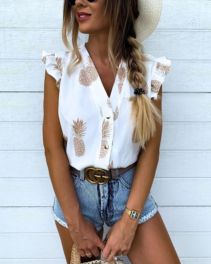 chicme / Pineapple Print Flutter Sleeve Casual Blouse