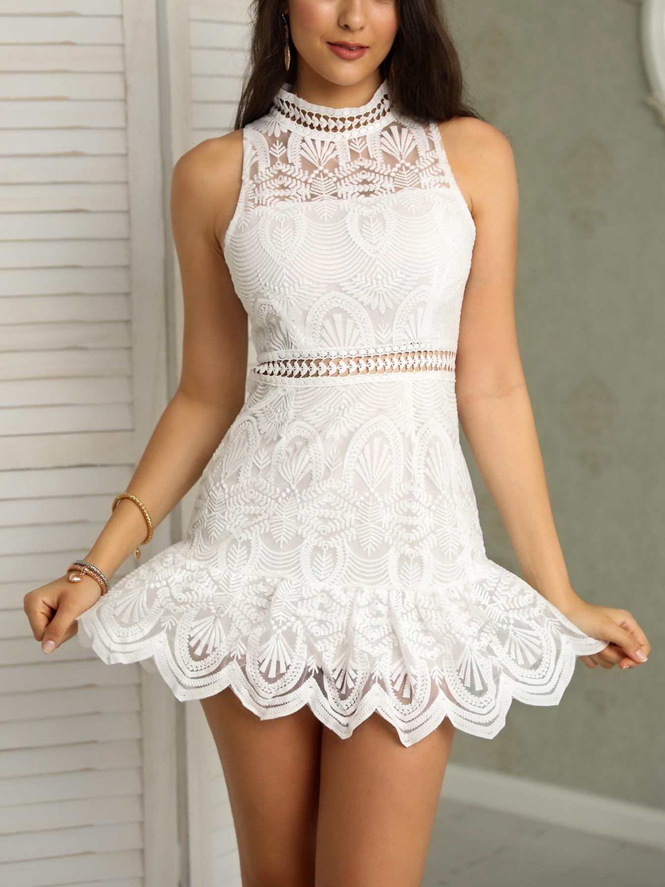 Halter Lace Hollow Out Scalloped Hem Mini Dress