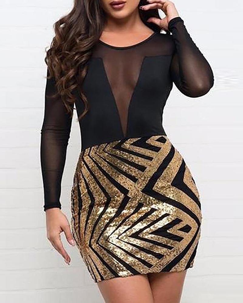 Mesh Sequined Bodycon Mini Dress фото