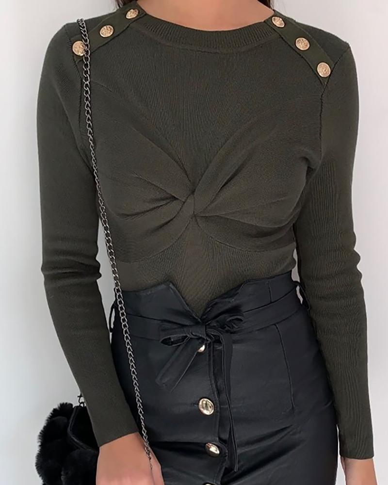 Solid Metal Buttoned Design Slinky Sweater, Green