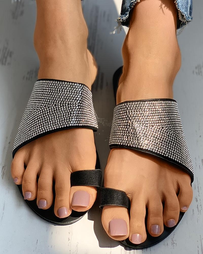 ivrose / Toe Ring Rhinestone Solid Cheetah Pattern Flat Sandals