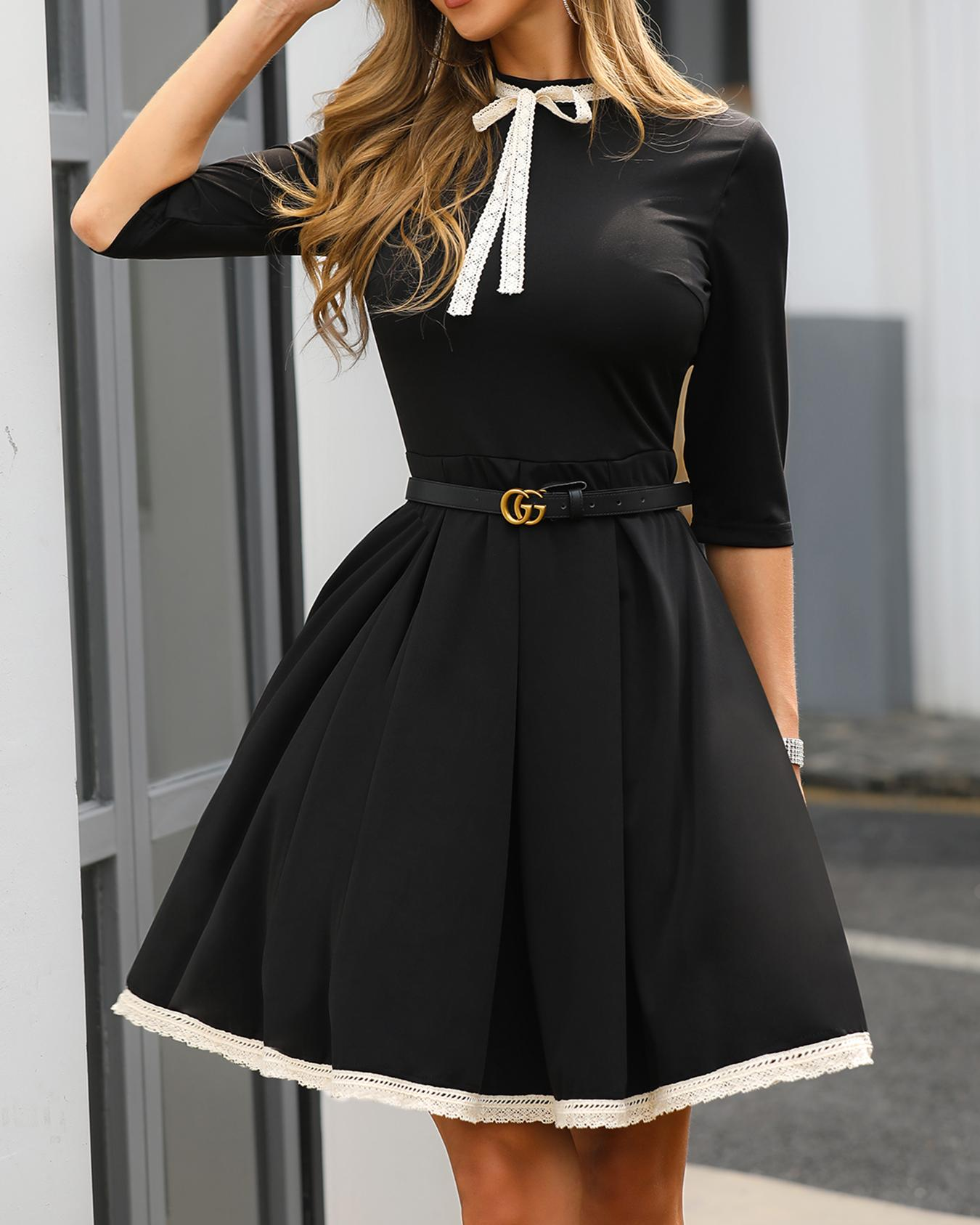 Lace Brim Ruched Bowknot Detail Dress